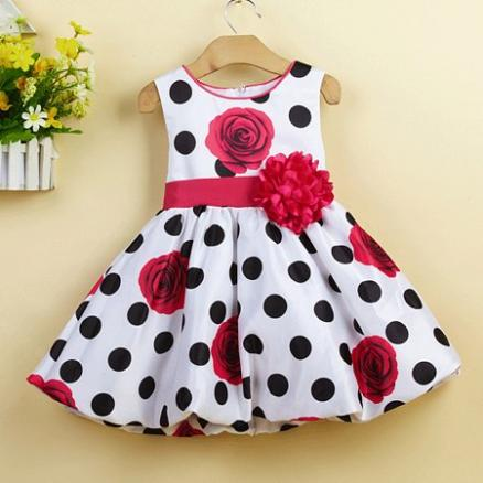Flower Prints Polka Dots Bowknot Decorated Zipper Back Dress (4066516)