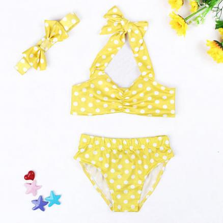 Bowknot Decorated Polka Dots Swimsuit (4257338)