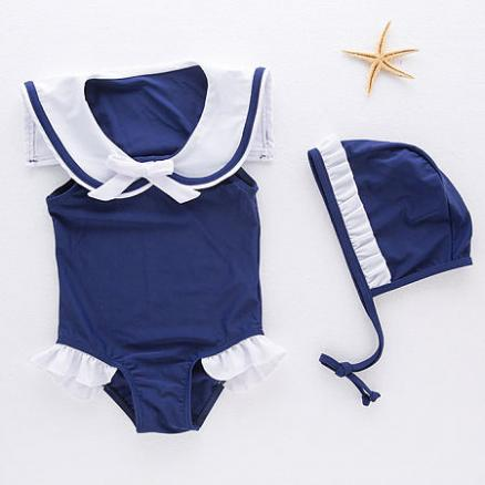Bowknot Decorated Sailor Collar Swimwear (4294463)