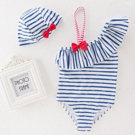 Bowknot Decorated One Shoulder Swimsuit (4238946)