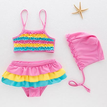 Ruffle Trim Color Block Swimwear (4291660)