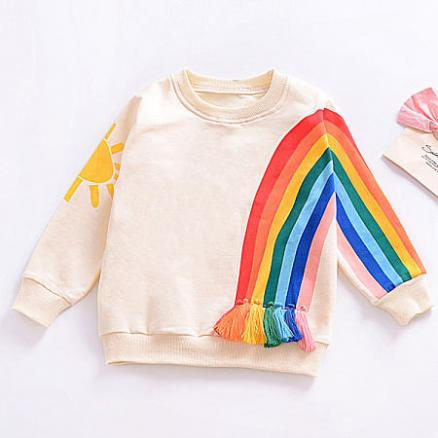 Cartoon Sun Rainbow Pattern Tassel Decorated Sweatshirt (4162132)