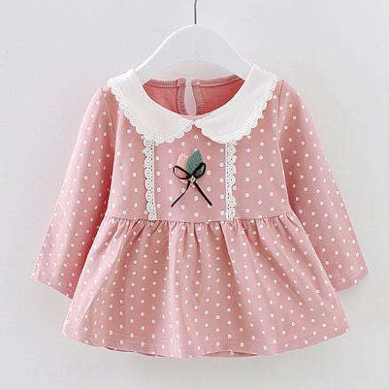 Doll Collar Polka Dot Keyhole Back Blouse (3828390)