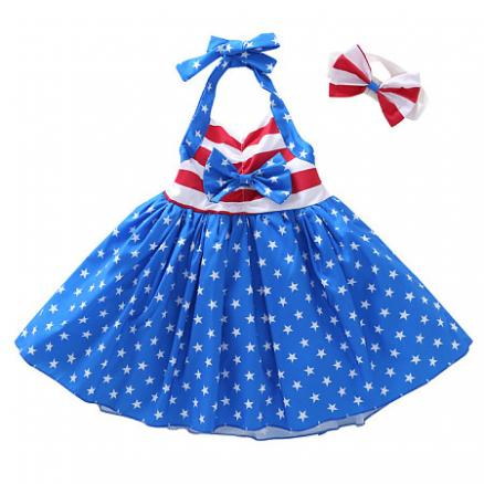 Bowknot  Decorated  Stripe Star Print Backless Dress (4664623)