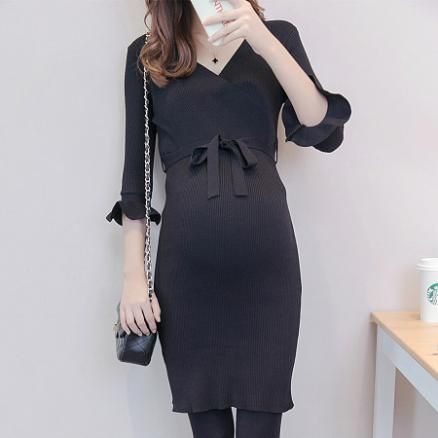Maternity Trumpet Cuff Knitted Dress With Belt (3976075)