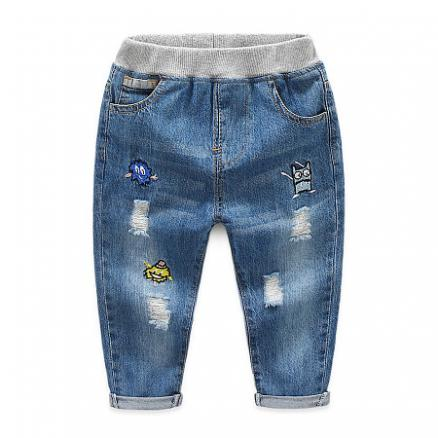 Cartoon Robot Pattern Ripped Jeans (4916634)