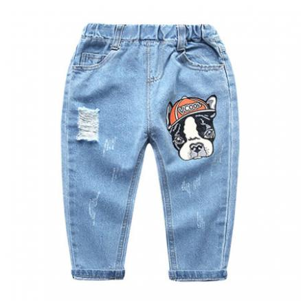 Cartoon Dog Ripped Jeans Letters Pants (4938894)