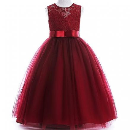 Lace Silk Bowknot Sash Back Zipper Princess Dress (4184623)