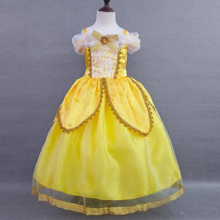 Yellow Cold Shoulder Lace Performing Dress (3812030)