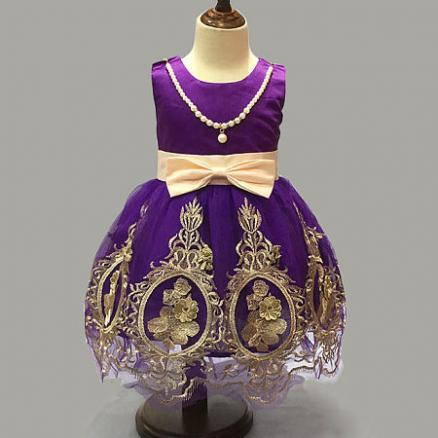 Embroidered Flowers Bowknot Princess Dress With Attached Necklace (3811852)
