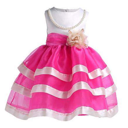 Beads Flower Decorated Self Tie Layed Princess Dress (4192525)