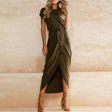 Asymmetric Hem  Plain  Short Sleeve Maxi Dresses (3626227)