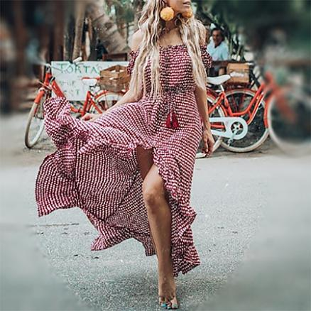 Off-The-Shoulder Bohemian Printed Beach Dress (4454327)