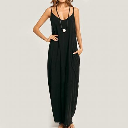 Summer Spaghetti Strap Pocket Plain Maxi Dress (4153245)