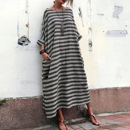 Oversized Striped Round Neck Pocket Maxi Dress (4406007)