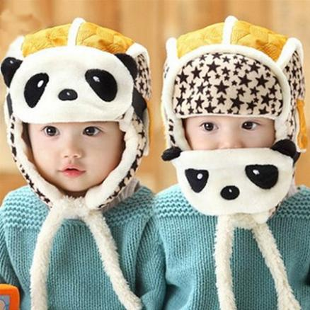 Thickened Cartoon Panda Mask Cap Two-In-One (3951458)