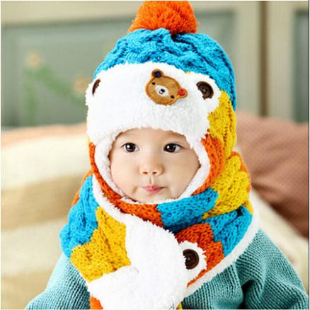 Thickened Knitted Cap Scarf Two Pieces Set (3953102)