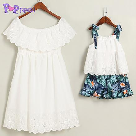 Mom Girl Hollowed Matching Outfits (4438449)