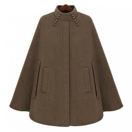 High Neck Pocket Plain Woolen Cape Sleeve Coat (3906632)