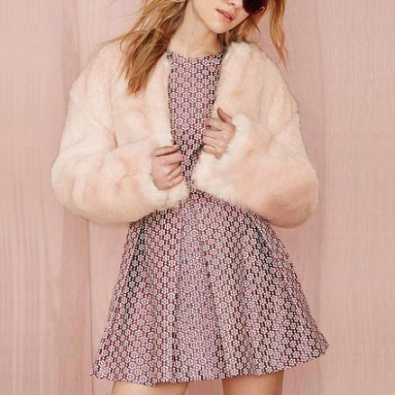 Maternity Fashionable Solid Pink Faux Fur Outerwear (3906776)