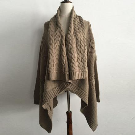 Thickened Woolen Yarn Knitted Outerwear (3898782)