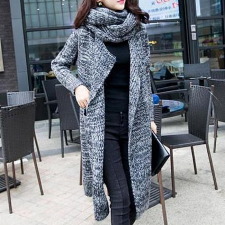 Lapel Patch Pocket Longline Coat With Scarf (3903470)