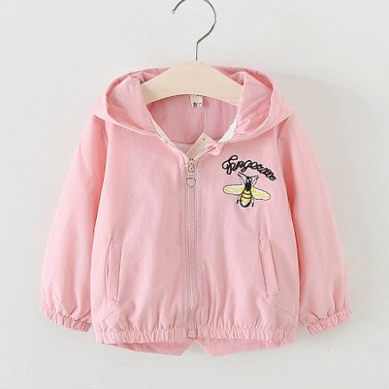 Letters Cartoon Insect Pattern Zipper Hooded Coat (4978875)
