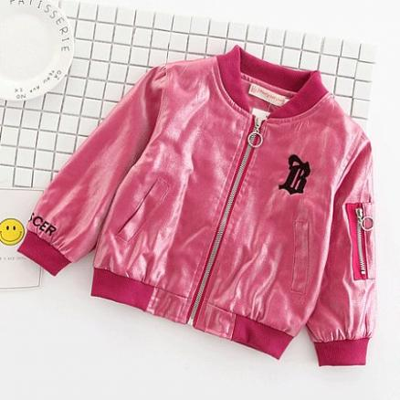 Smiling Face Embroidered Metal Color Jacket (4187362)