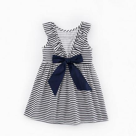 Stripes Bowknot Girls Summer Dress (3560529)