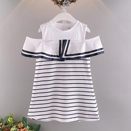 Girls Stripe Cold Shoulder Cotton Dress (3667453)