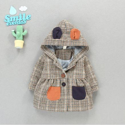 Fashion Check Split Joint Button Coat (5372337)