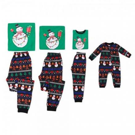Christmas Round Collar Shirt Printed Pants Suit Family Suit (5411519)