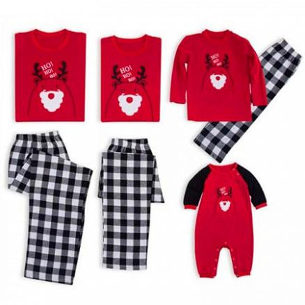 Christmas Round Collar Shirt Black Check Pants Suit Family Suit (5411962)