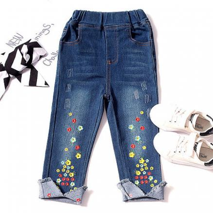 Embroidered Flowers Elastic Waist Jeans (3939187)