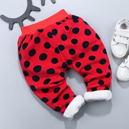 Thickened Polka Dots Elastic Waist Trouser (3954771)