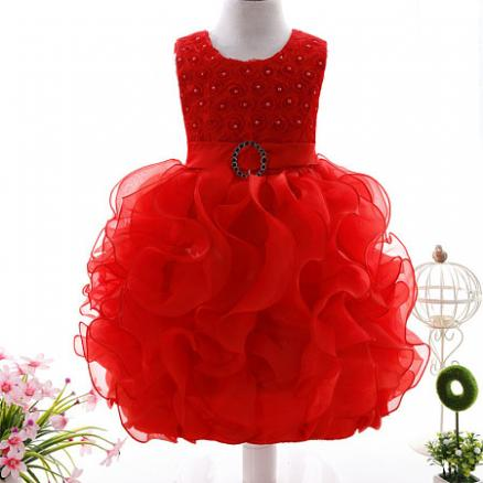 Organza Beads Decorated Self Tie Tulle Princess Dress (3902816)