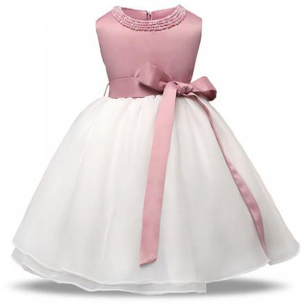 Beads Decorated Big Bowknot Self Tie Sleeveless Princess Dress (4047288)