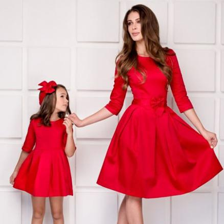 Mom Girl Solid Color Bowknot Decorate Matching Dress (5595819)