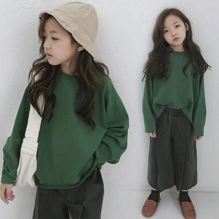 Pleated Brushed Green Girl Sweater (5365643)