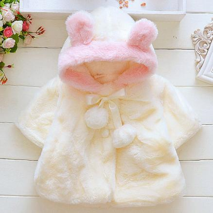 Thickened Plush Pompon Decorated Self Tie Hooded Outerwear (4003189)