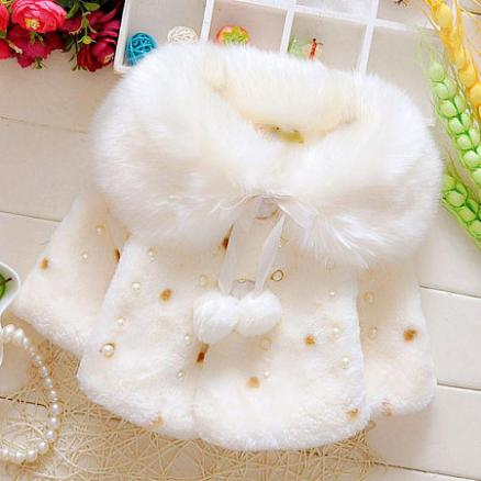 Sweet Beads Decorated Plush Cloak (3734568)