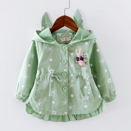 Bunny Decorated Star Prints Hooded Coat (4977407)