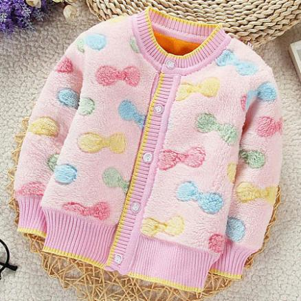 Thickened Plush Bowknot Prints Button Outerwear (4064166)