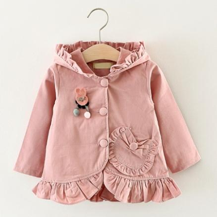 Sweet Girls Hooded Casual Trench Coat (3703788)