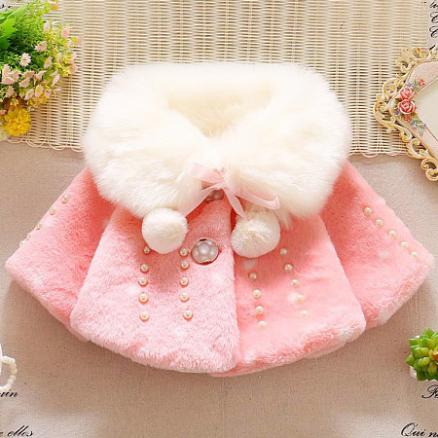 Thickened Plush Pearl Decorated Self Tie Outerwear (4003355)