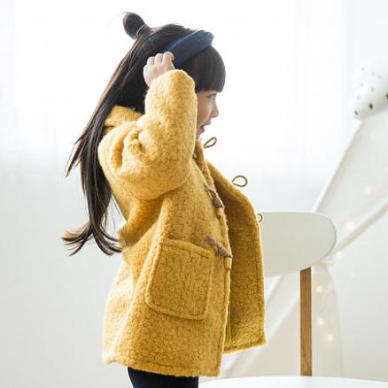 Solid Color Horn Buckle Hairy Coat (5434268)