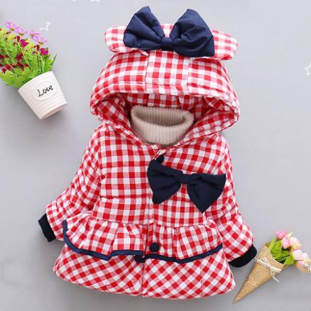 Plaid Bowknot Decorated Hooded Coat (3805962)