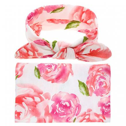 Baby Floral Print Photo Props With Headband (3558142)