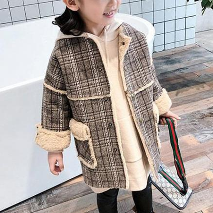 Plaid Pocket Thickened Coat (5842978)