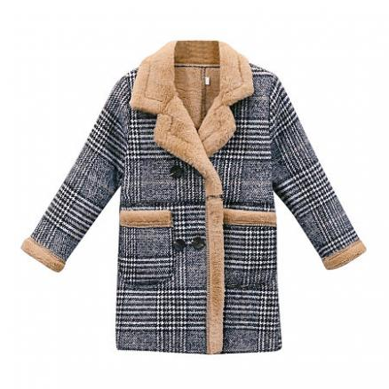 Plaid Pocket Thickened Notch Collar Coat (5792253)